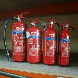 Fire Extinguishers on Shelf